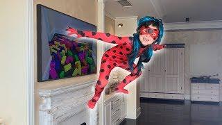 Super hero Mania Ladybug emerged from the TV