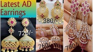 #Latest american diamond earrings collection#Ear rings collection with price and contact information