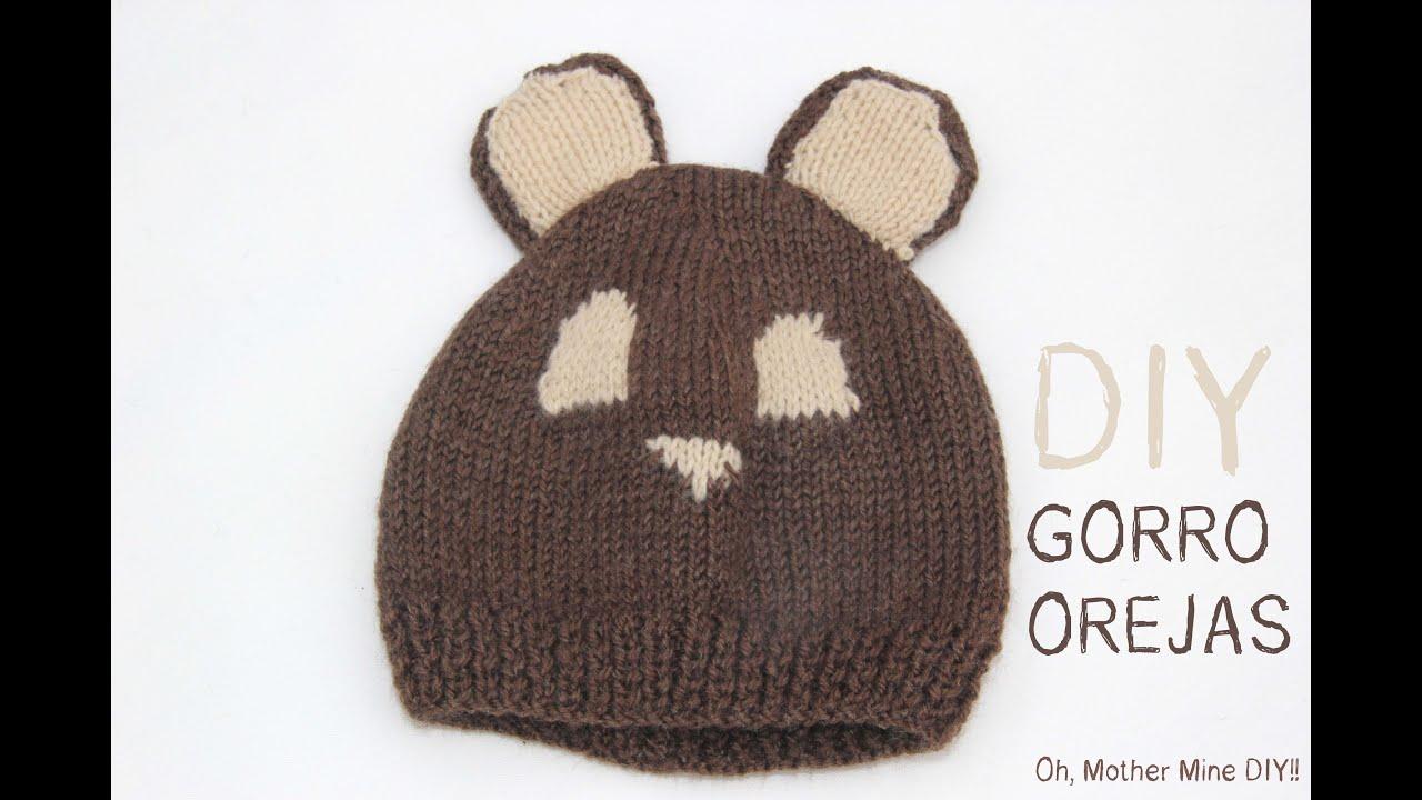 DIY Cómo hacer gorro de lana con orejas para bebe - YouTube