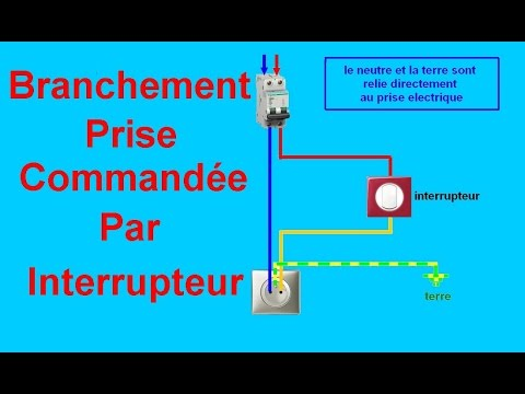 Schema branchement cablage prise command e par interrupteur youtube - Comment brancher un interrupteur ...