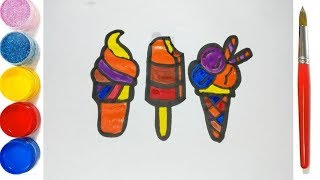 Ice cream coloring and drawing for Kids, Toddlers, Toy Art 4K
