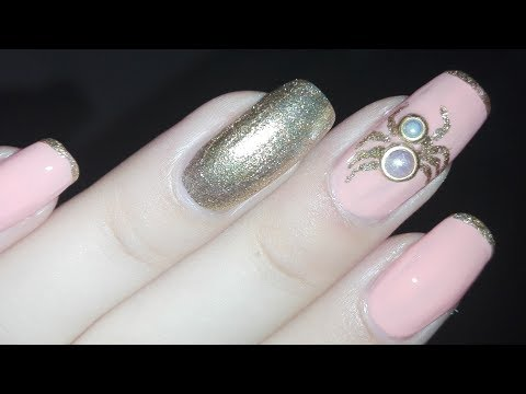 Cute 3D Pearl Spider Nail Art Tutorial- Halloween Nails | Rose Pearl thumbnail