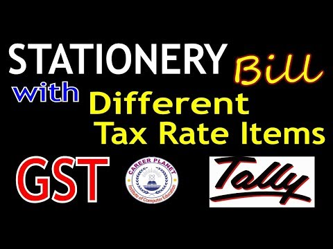 Tally ERP 9-Stationery Bill with Different Tax Rate Items under GST Part-49|Tally GST Expenses Entry
