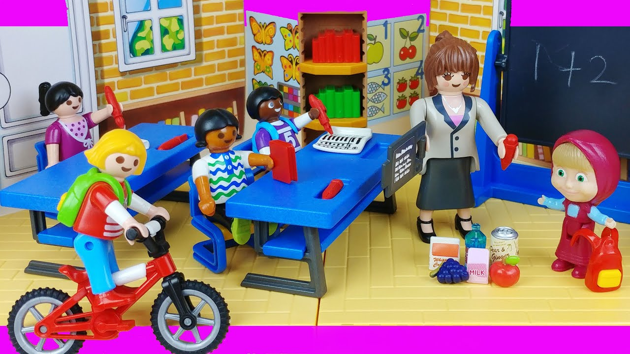 Baby doll school play and bus toys play house story - ToyMong TV 토이몽