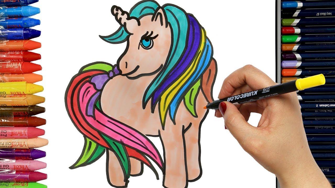 Wie Zeichnet Man Einhorn Pony Ausmalen Kinder Kindervideos