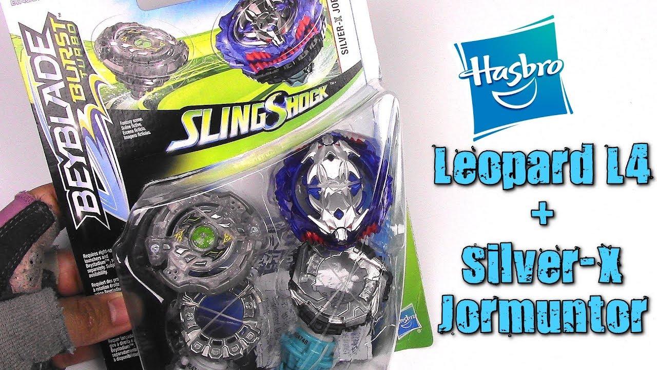 LEOPARD L4 + SILVER-X JORMUNTOR SLINGSHOCK DUAL PACK!! Beyblade Burst Turbo  | Hasbro