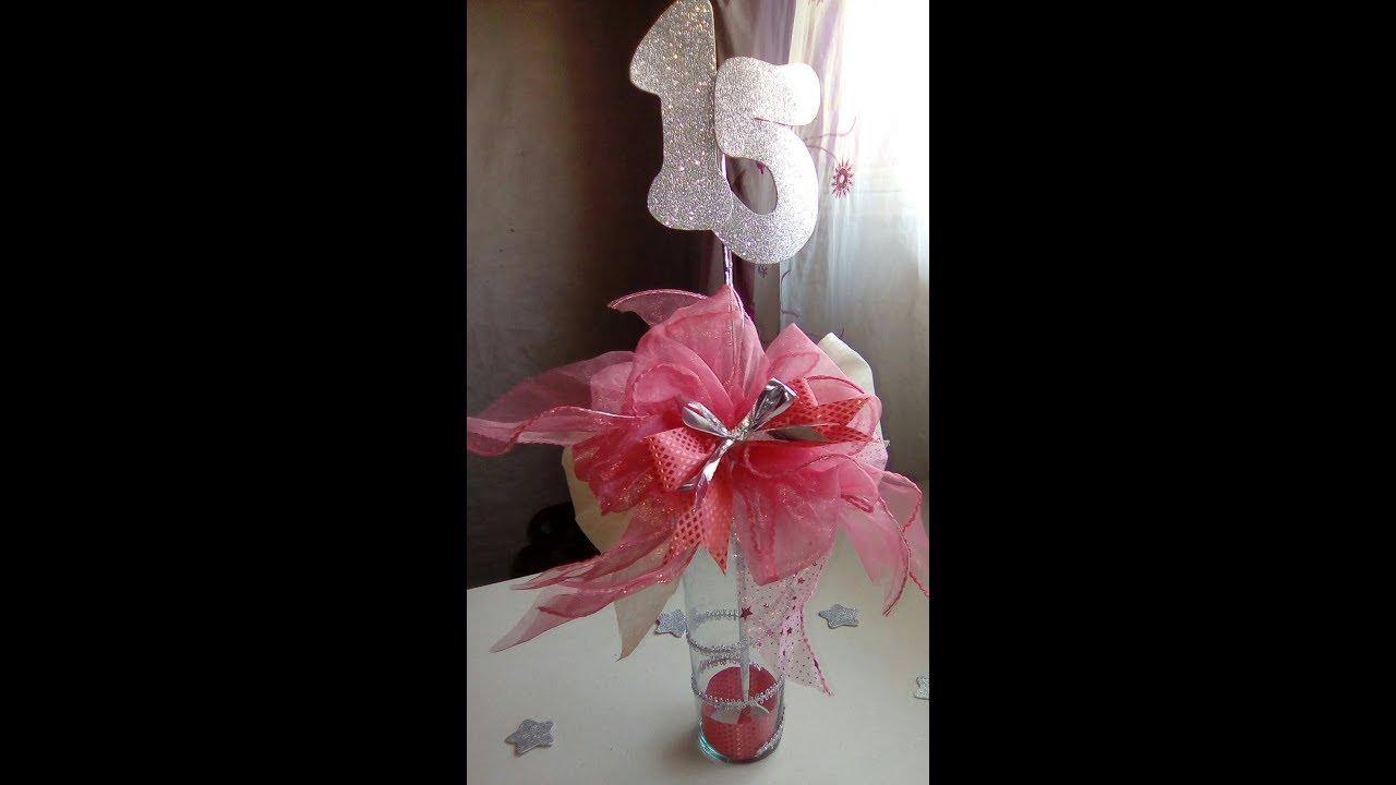 Centro de mesa 15 a os color coral tutorial youtube for Decoracion de pared para quinceanera