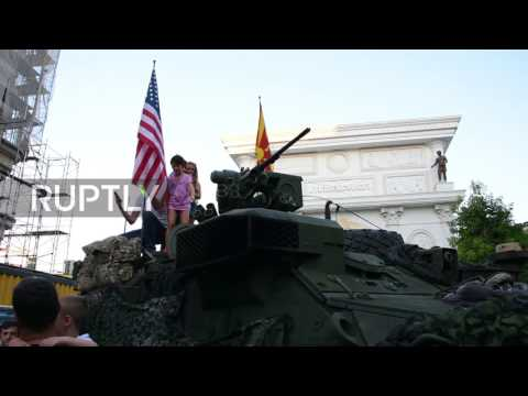 Macedonia: US and Macedonian troops show off military equipment in Skopje