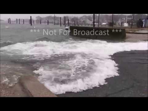 Scituate MA Flooded Roads Cars Driving in Flooded Roads March 2nd 2018