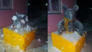 Вандалы запинали ледяную крысу. Real video