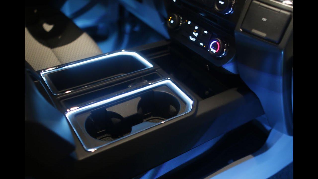 2015+ F150 CUP HOLDER LIGHT KIT INSTALL F150LEDS.COM - YouTube
