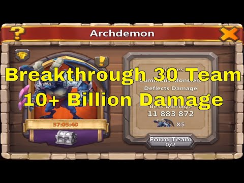 Castle Clash Archdemon Full Breakthrough 30 Team Gameplay
