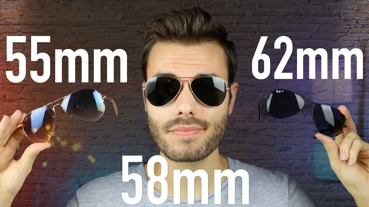 bdbaa1efe0f Ray-Ban Aviator Size Comparison RB3025 55mm vs 58mm vs 62mm - YouTube