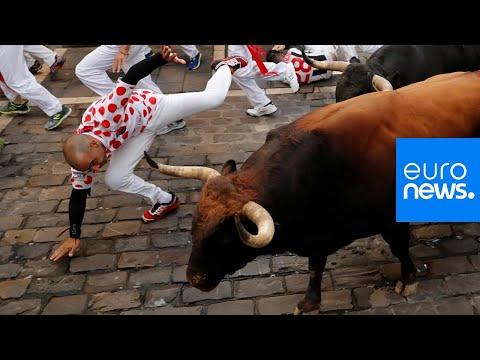 خمسة جرحى في اليوم السابع من مهرجان الركض مع الثيران بإسبانيا …  - 13:53-2019 / 7 / 13