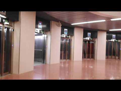 Lift ride at zona universitaria Subway station Barcelona (Spain)