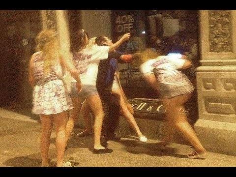 Carnage Pub Crawl Girls Attacked A Homeless Man After Telling Him To 'Get A F****** Job'!!!