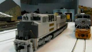 01 27 09 the hot mth ho scale sd70ace prototype engine next to my overland one on the layout