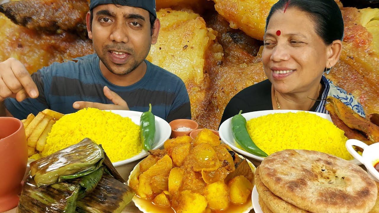 Mukbang Yellow rice and veg curry Eating