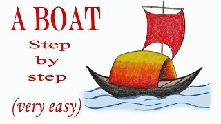 How to draw a boat step by step (very easy)