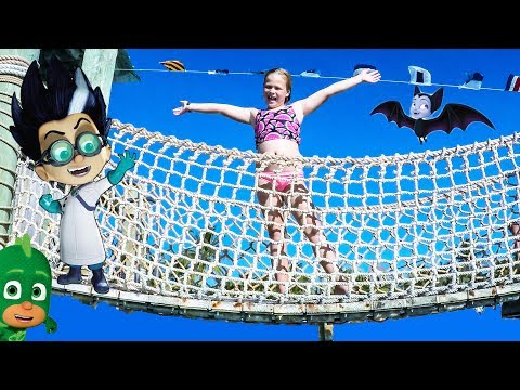 PJ MASKS and Vampirina Disney Castaway Cay Water Slide Obstacle Course Hunt with Paw Patrol