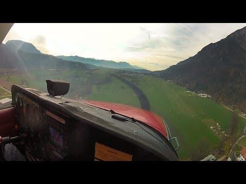 450m/1500ft Grass Runway - Very steep Approach and landing into Kufstein C172 Skyhawk