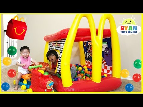 Thumbnail: McDonald's Drive Thru Prank Inflatable giant ball pits and giant food + McDonald's Indoor Playground