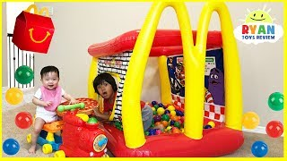 McDonald's Drive Thru Prank Inflatable giant ball pits and giant food + McDonald's Indoor Playground