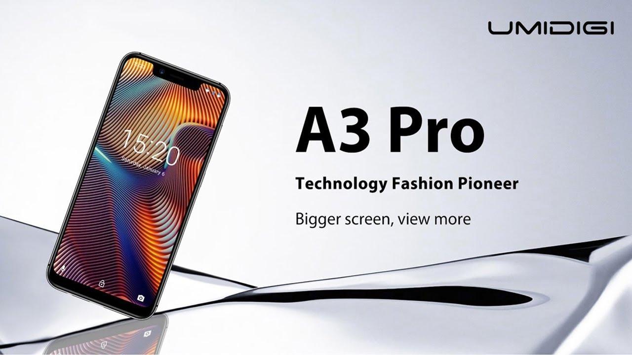 video UMIDIGI A3 Pro Smartphone, Global Dual 4G LTE, 3GB+32GB