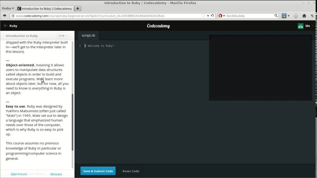 Codecademy Introduction to Ruby: Steps 1 16
