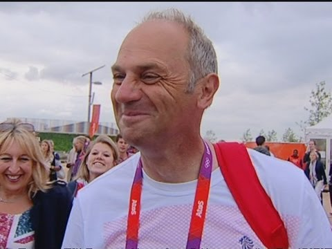 Steve Redgrave reacts to Chris Hoy overtaking his medal count at London 2012