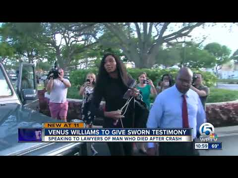 Venus Williams arrives at lawyer's office to give sworn testimony in deadly crash
