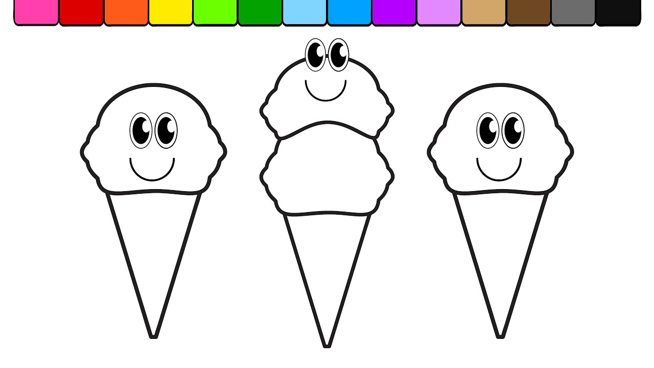 Learn Colors For Kids And Color Summer Ice Cream Coloring Page