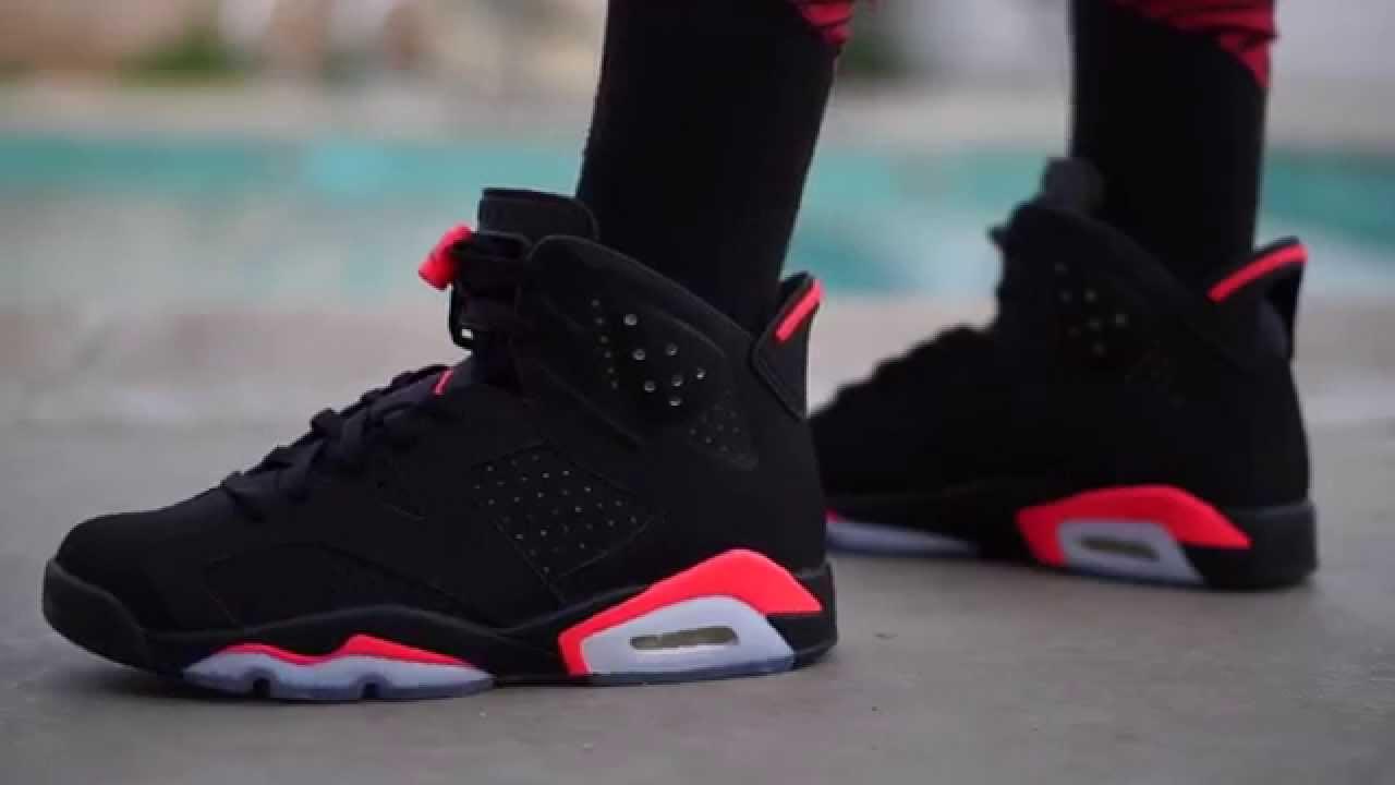 acf500d2eb8b3e Jordan Retro 6 Black Infrared On Feet   foot - YouTube