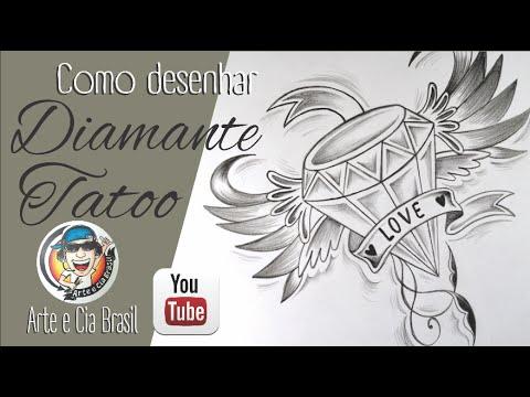 Como Desenhar DIAMANTE Estilo TATOO - Passo A Passo