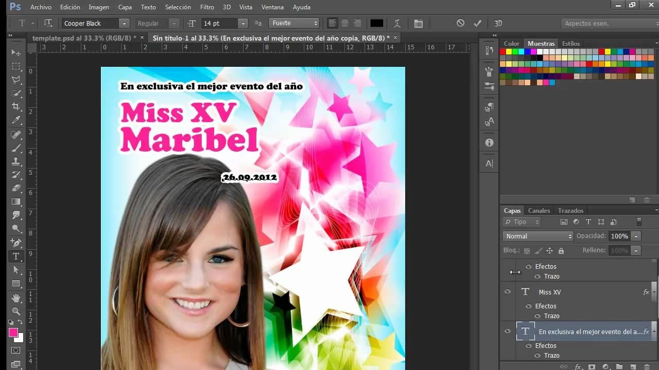 Photoshop Invitación XV años Portada de Revista - YouTube