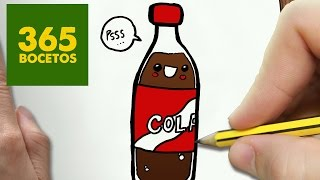 COMO DIBUJAR GASEOSA KAWAII PASO A PASO - Dibujos kawaii faciles - How to draw a SODA