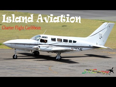 Nevis Spotting !!! Charter Flight Caribbean Cessna 402C Arrival - Taxi - Departure