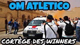 La Police participe aussi au cortège des Winners pour la finale OM Atletico Madrid a Lyon.