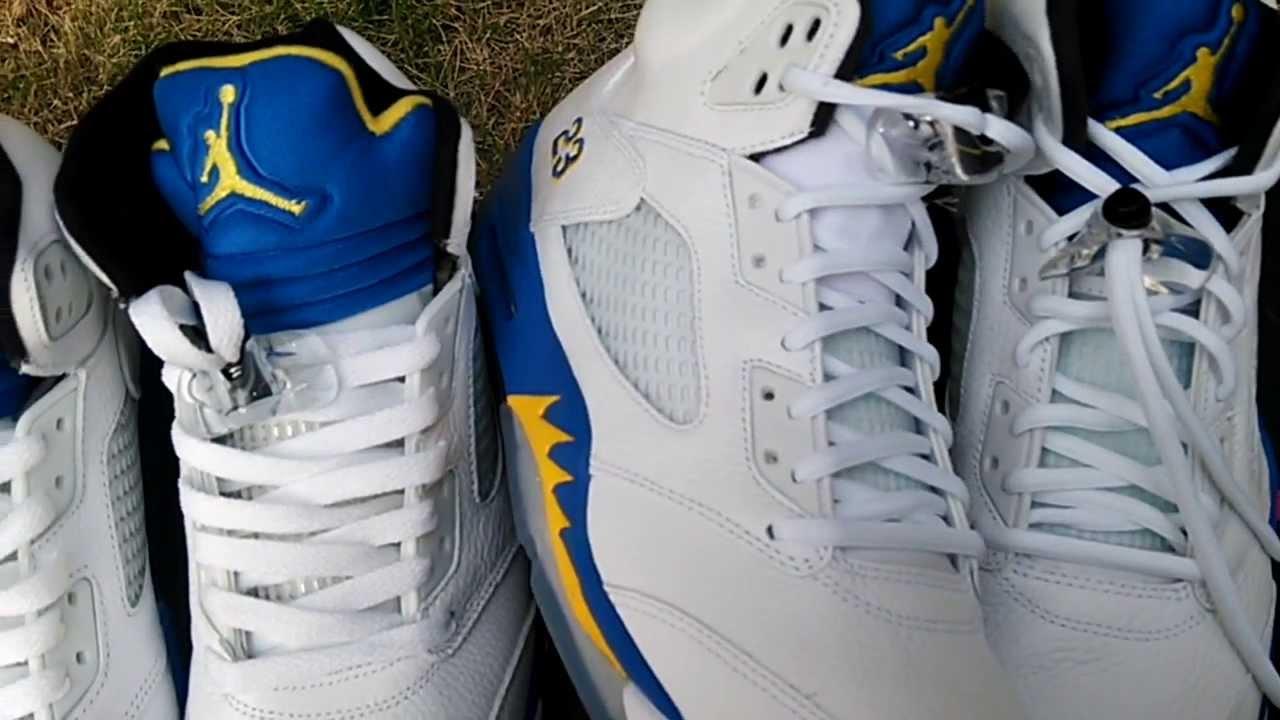 dac7a36de95f Replica Jordan 5 Laney VS Authentic Jordan 5 Laney - YouTube