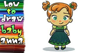 How to draw baby ANNA from Frozen - learn to draw - drawing lessons - coloring pages
