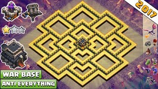 Town Hall 9/Th9 War Base 2017 Anti 2 Star | Anti Lavaloon | Anti Everything | Anti Valk |Anti 3 Star
