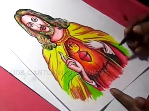 How to draw lord jesus christ drawing for kids step by step