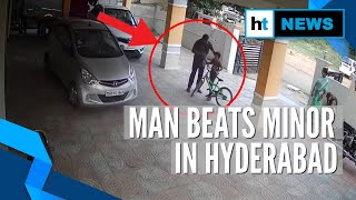 Caught on cam: Man beats minor in Hyderabad for playing at parking site