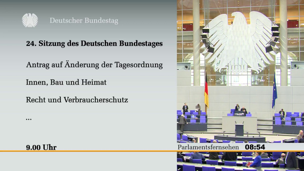 Livestream Bundestag [24]: Genealdebatte zu Innen, Recht ...