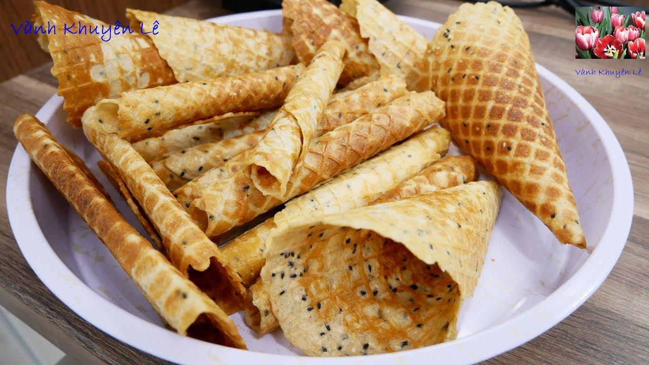 BÁNH KẸP QUẾ CUỘN, BÁNH ỐC QUẾ – Cách làm Bánh giòn tan thơm Dừa Sữa Mè by Vanh Khuyen