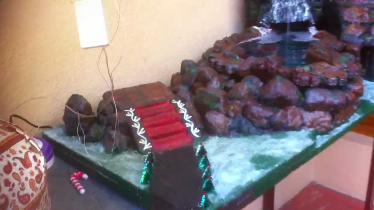 Christmas Crib Decoration With A Rain Forest Waterfall Theme