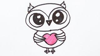 Как нарисовать птицу сову. Забавная птица сова с сердечком. Рисунок фломастером