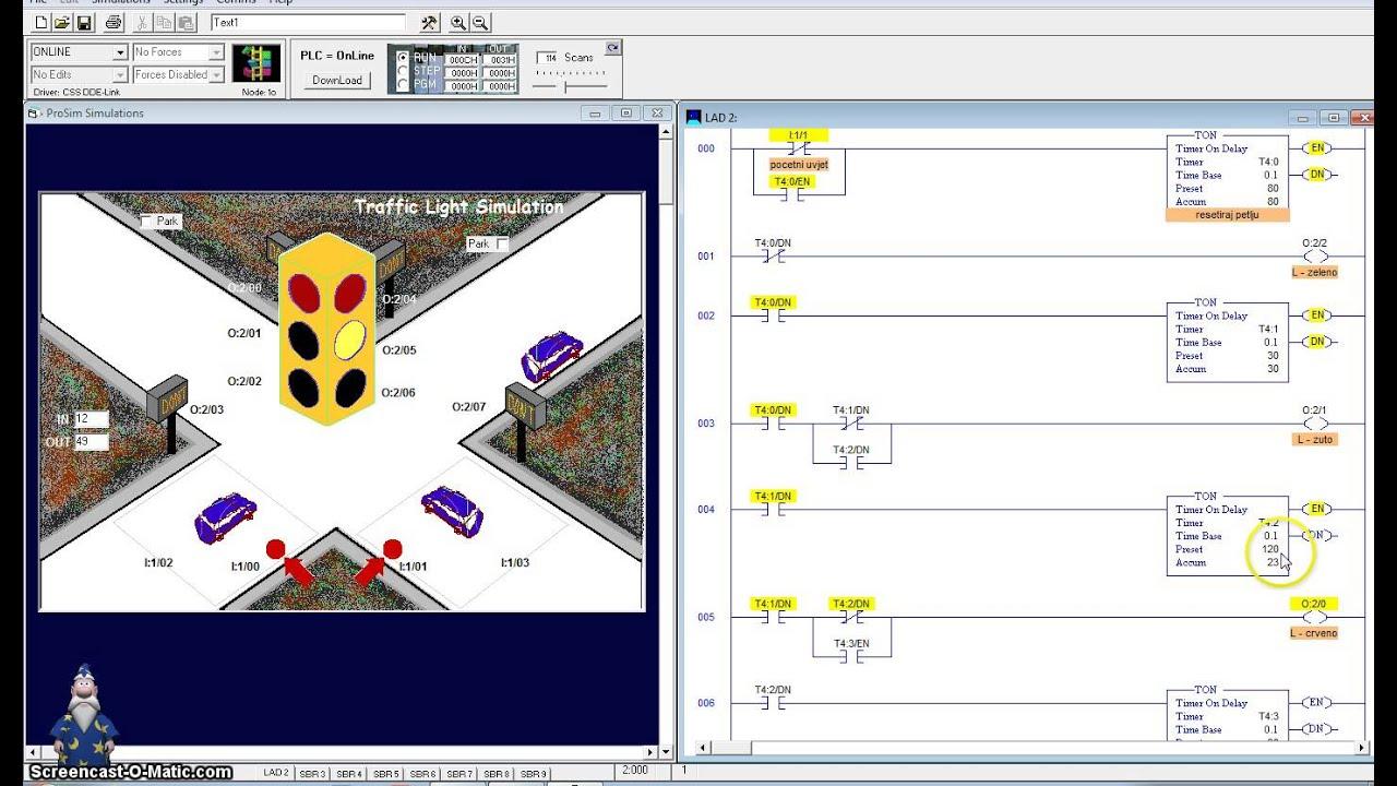 logixpro traffic light ladder diagram 2 amp wiring plc simulator simulation youtube
