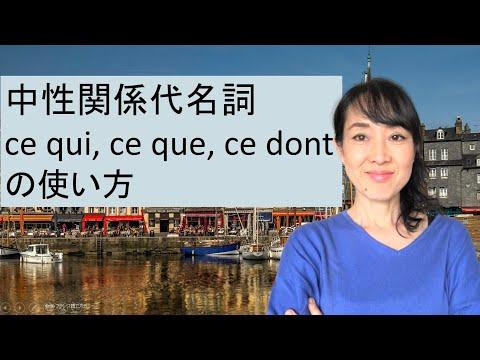 フランス語の中性関係代名詞 ce qui, ce que, ce dont の使い方