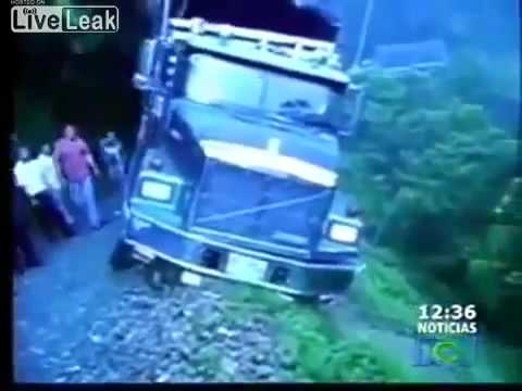 Truck fall's off the most dangerous road in the world
